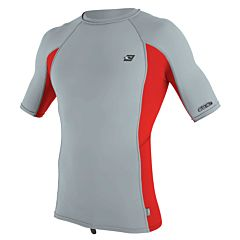 O'Neill Premium Skins Short Sleeve Rash Guard - Cool Grey/ Red - Front