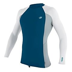 O'Neill Premium Skins Short Sleeve Rash Guard - Ultrablue/Cool Grey/White -Front