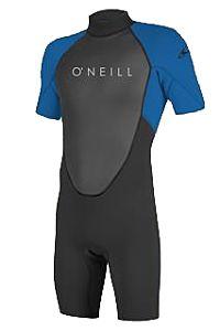 O'Neill Youth Reactor II 2mm Short Sleeve Back Zip Spring Wetsuit - Black/Ocean - Front
