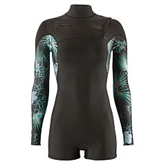 Patagonia Women's R1 Lite Yulex 2mm Long Sleeve Chest Zip Spring Wetsuit - Bayou Palmetto/Ink Black