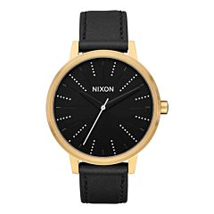 Nixon Kensington Leather Watch - Gold/Black/Silver