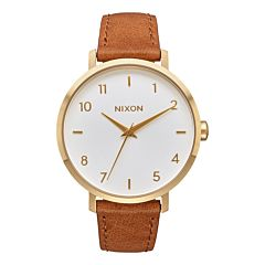 Nixon Women's Arrow Leather Watch - Gold/White/Saddle