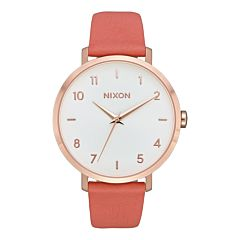 Nixon Women's Arrow Leather Watch - Rose Gold/Salmon