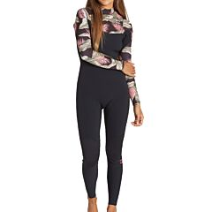 Billabong Women's Furnace Carbon 3/2 Chest Zip Wetsuit - Black Palms