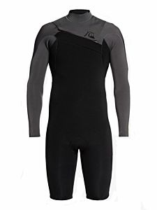 Quiksilver Highline Limited 2mm Long Sleeve Chest Zip Spring Wetsuit - Black front