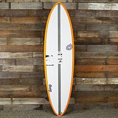 Torq Mod Fun 6'8 x 21 x 2 3/4 Surfboard - White/Orange - Top
