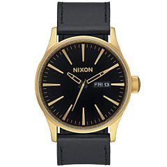 Nixon Sentry Leather Watch - Gold/Black