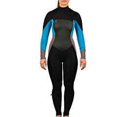 O'Neill Women's Wmns O'Riginal 3/2 Chest Zip Wetsuit - Black/Slate/Tahitian Blue