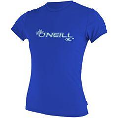 O'Neill Wetsuits Women's Basic Skins Rash Tee - Tahitian Blue