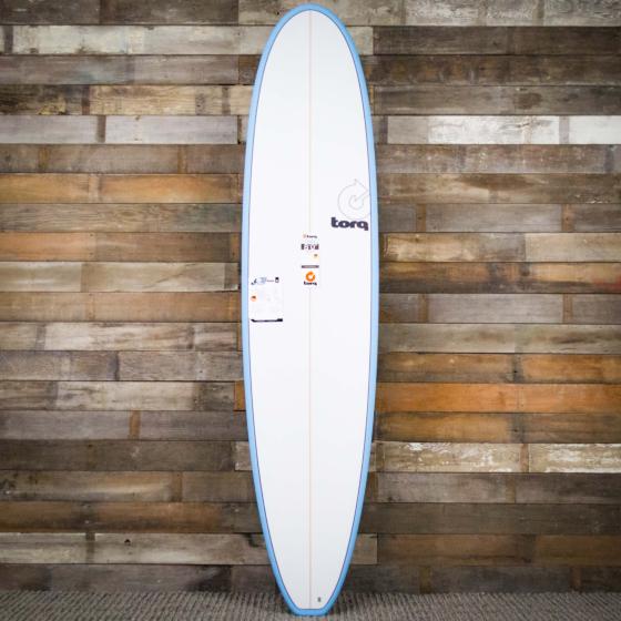 Torq Mini Longboard 8'0 x 22 x 3 Surfboard - Blue/White - Deck