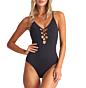 Billabong Women's Sol Searcher One Piece Swimsuit - Black Pebble - Front