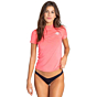 Billabong Women's Core Loose Fit Short Sleeve Rash Guard - Neon Coral
