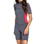 Roxy Women's Syncro 2mm Short Sleeve Spring Wetsuit - Deep Grey/Scarlet