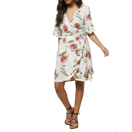 O'Neill Womens Molly Floral Dress - Winter White -front